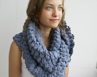 Infinity Loop Scarf Indigo Blue For Her for women  and Gift under 60 Christmas Gift