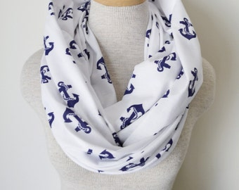 Nautical Anchor Infinity Scarf - Navy Blue and White Anchor Scarf