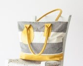 Tote bag stripe, shoulder purse in cotton canvas and Yellow leather  - Kallisto bag