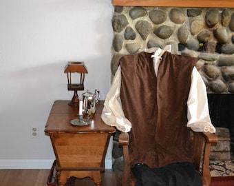 Men's Colonial Paul Revere Costume Reenactment Vest Shirt and Pants 3 Piece Set