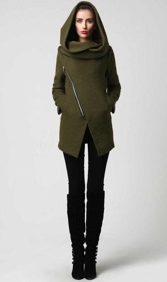 Moss Green jacket short coat wool coat Womens jackets | Etsy