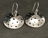 Silver Disc Earrings- Large Sterling Silver Earrings- Simple Silver Earrings- Dangle Earrings- Large Disc Earrings