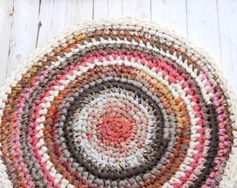Rosy Brown Round Crochet Rug, Soft Fabric Rug, Eco Friendly Home Decor, Nursery Rug