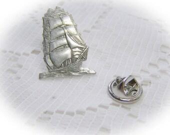Clipper Ship Lapel Pin - Clipper Ship Tie Tack  - 18th Century Schooner - Silver plated - Pirate Ship