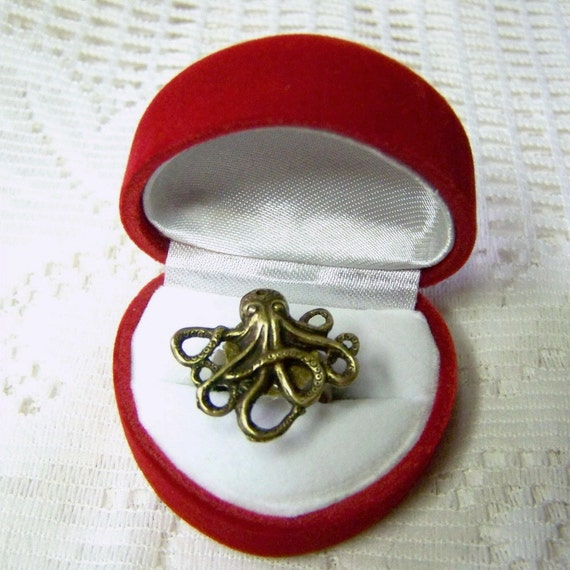 Octopus Ring - Oxidized Brass, Adjustable Ring, Nautical, Kraken Ring, Under the sea, Sea Monster adjustable ring