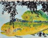 "Dolphin - ""Weedline"" - Gyotaku Fish Rubbing - Limited Edition Print (33 x 19.5)"