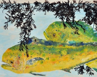 "Dolphin - ""Weedline"" - Gyotaku Fish Rubbing - Limited Edition Print (33 x 19.5)"