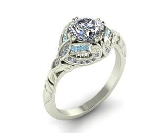 Diamond and Aquamarine Vintage Ring