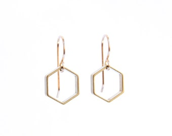SALE Hexagon brass earrings - Small - As seen at Macy's