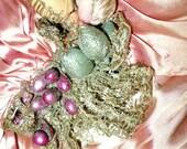 Antique Edwardian Ribbonwork Silk Sash Silver Metallic Lace Tricotene Bobble Dress Trim Restoration