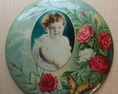 Printed Portrait Medallion Decorative Vintage NOVELTY Child Photo On TIN 9 Inch PLATE Picture With Stand On Back