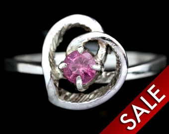 Ruby Ring, Sterling Silver Ladies, Pink Gem stone, Silver Jewelry, Heart Design Ring, Size 6