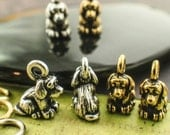 SALE 2 Antique Gold Plated Patient Dog Charms - Handmade Jump Rings Included - Made in the USA - Authentic Tierra Cast - 100% Guarantee