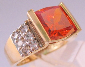 Cushion Cut Orange CZ Sterling Vermeil Ring Size 7 Vintage Jewelry FREE SHIPPING