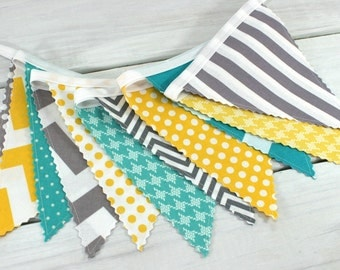 Bunting, Banner, Photography Prop, Fabric Flags, Nursery Decor, Birthday Decoration  - Gray, Grey, Yellow, Turquoise,Teal, Chevron, Dots