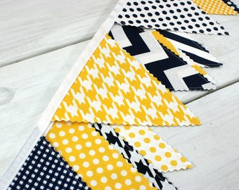 Bunting Banner, Photo Prop, Fabric Flags, Baby Nursery Decor, Birthday Decoration, Garland, Pennant - Navy Blue, Yellow, Chevron, Dots