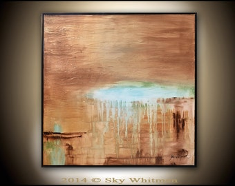 Original Abstract Framed Painting Large 31x31 Modern Textured Square Oil Painting Brown and Blue Abstract Art Glossy Sky Whitman
