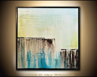 Framed Square Painting Original Abstract Art Modern Textured Oil Painting Blue Brown High Gloss Contemporary art by Sky Whitman