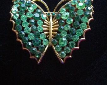 Vintage  LISNER Green Rhinestone Butterfly Brooch Pin