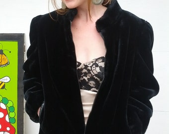 Vintage 70s retro 30s Black Faux Fur Evening Coat Jacket Size medium