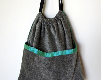 SALE - 50% OFF - Large Charcoal and Ivory Chenille Drawstring Tote
