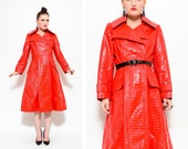 60s 70s Red Calvin Klein Crocodile Patent Dress Jacket / Double Breasted Trench Coat S