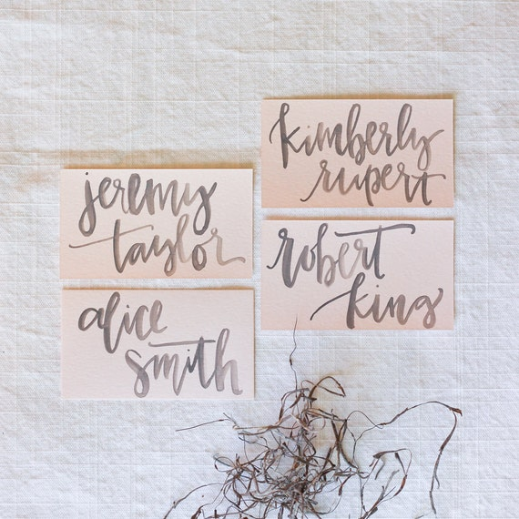 Grey Watercolor Calligraphy On Blush Place Card