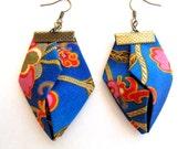 Beachwear blue orange origami earrings, fabric origami earrings, geometric origami dangles