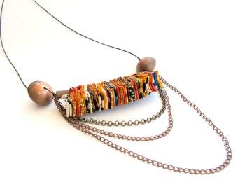Statement modern tribal necklace, long fiber tribal modern necklace, urban tribal modern necklace