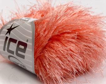 Extra Long Eyelash Yarn Light Salmon Pink Ice 13275 Long Eyelash 38yds per 50gr skein Pale Coral Fun Fur for Shawls, Scarves, Fiber Jewelry