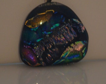 Fused Glass Necklace, Multi-Colored Dichroic Glass, SRAJD