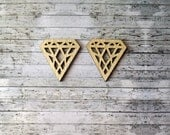 Diamond Wooden Shapes / laser cut / Geometry