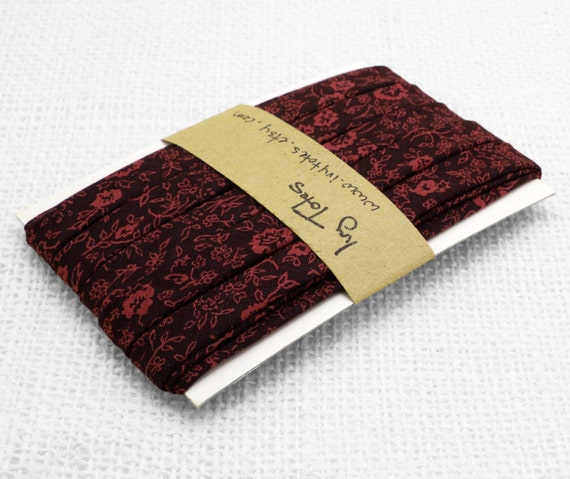 Bias tape/ binding - 1/2 inch, double fold floral - Burgundy Wine Red with Flowers- 3 yds.