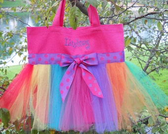 Children's Embroidered Dance Bag- Hot Pink Tote Bag with Rainbow Tulle and Hot Pink and Purple Polka Dot Ribbon Tutu Tote Bag - TB96 - Ch