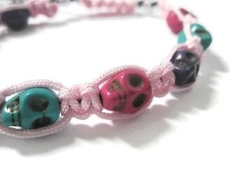 Jewellery Halloween Skull day of the dead Macramé Black Pink ceramic skulls Purple turquoise Fuschia Adjustable bracelet