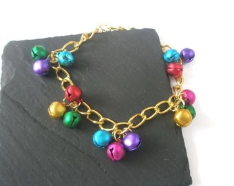 Anklet Jingle bells Charm Ankle chain Gold Red Blue Yellow Purple Green Jewelry