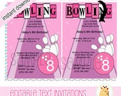 Cute Pink Retro Bowling Birthday Invitations, Girl Bowling, JPG File Digital Print Your Own EDITABLE TEXT Instant Download