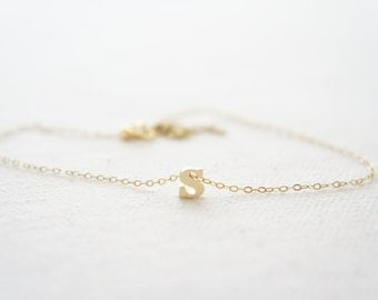 """Gold Letter, Alphabet, Initial  """"s"""" necklace, birthday gift, lucky charm, layered necklace"""