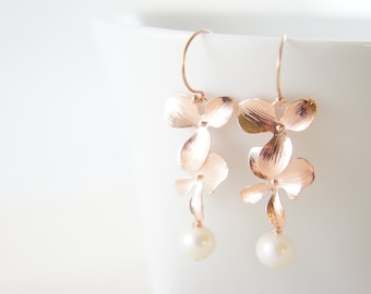 Rose gold orchid and pearl earrings with french hooks -   bridal gift, wedding, bridesmaids