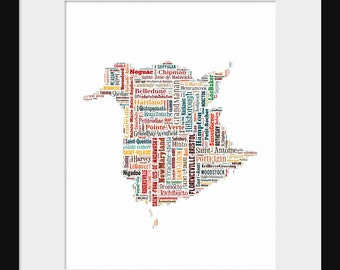 New Brunswick Canada Map Typography Color Map Poster Print Text Map