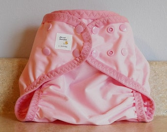 Large PUL Diaper Cover with Leg Gussets- 20 to 30 pounds- Baby Pink- 23006