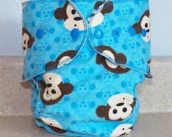 Fitted Preemie Newborn Cloth Diaper- 4 to 9 pounds- Blue Monkeys- 16035