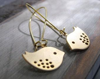 Gold Love Bird Earrings, 14k Gold Plated Dangle Earrings, Cute Bird Girls Gift Jewelry - TWEETS