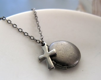Cross Locket Necklace, Christian Necklace Religious Jewelry, Silver Cross Necklace Tiny Locket - THE CROSS
