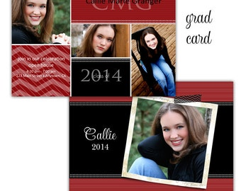 Instant Download - Photoshop Psd layered Templates for Photographers - Grad Senior card - Callie Design