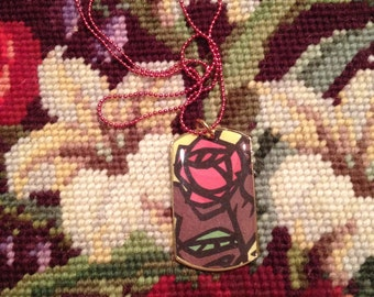Disney's Beauty and the Beast Stained Glass Rose Gold Dog Tag Necklace