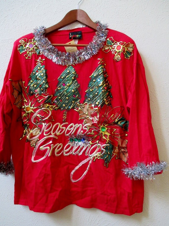 Ugly Christmas Sweater Red T-Shirt with Puff Paint