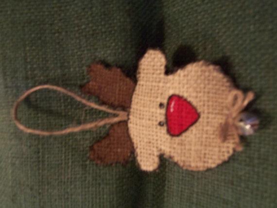 Items similar to burlap reindeer face christmas handmade for Burlap christmas decorations to make