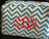 Personalized chevron makeup bag