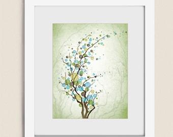 Blue Green Circle Tree Art Print, Home Wall Decor, Living Room Wall Art 11 x 14 Print (36)